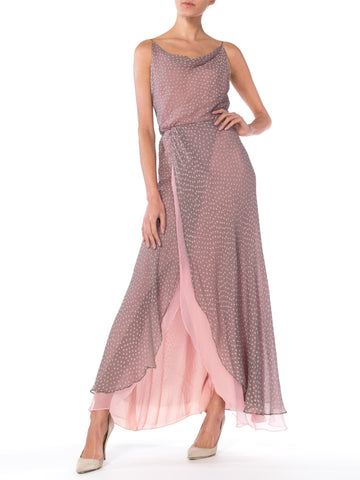 Lilac polka dot spaghetti strap maxi dress gown
