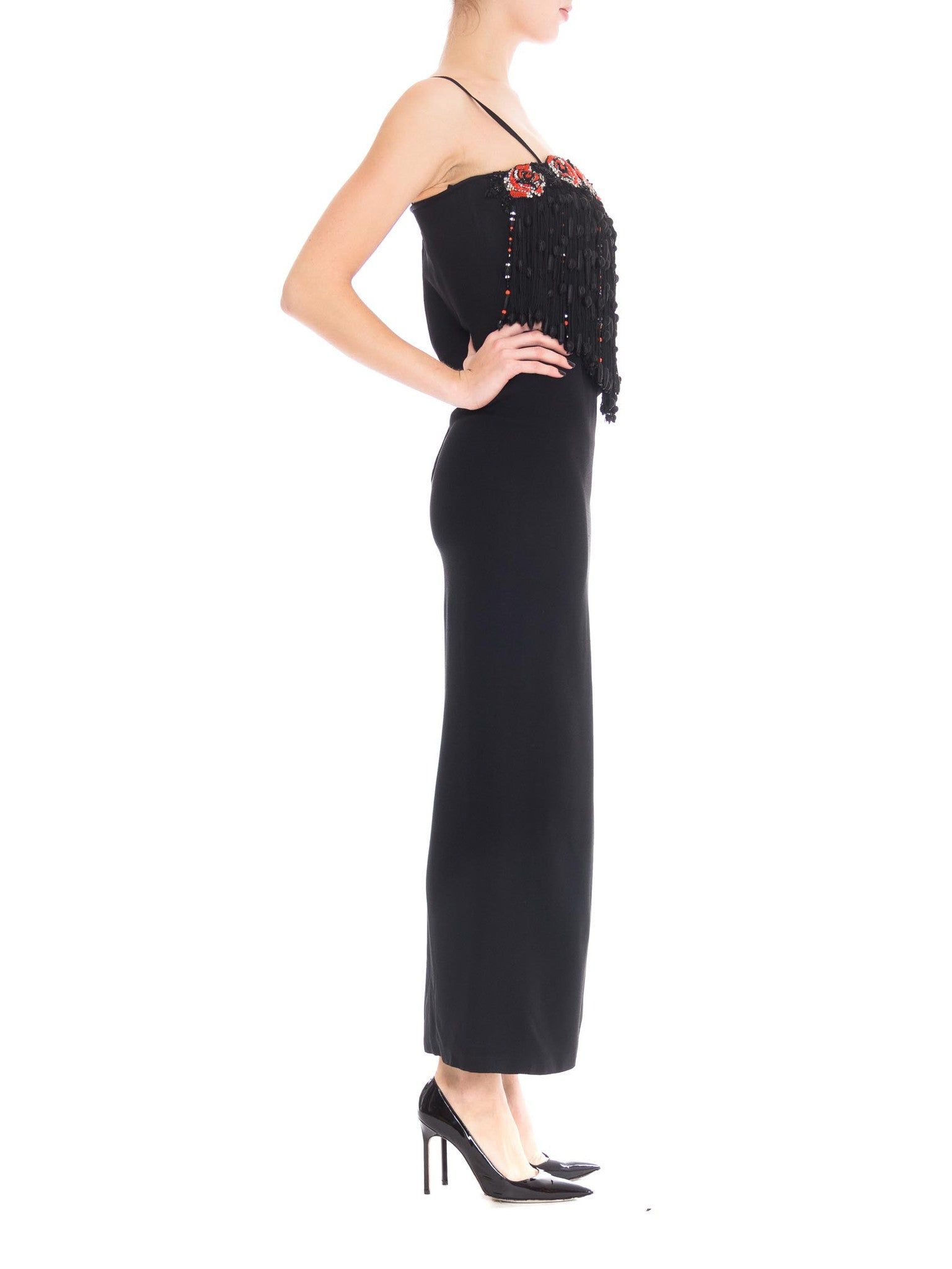 1970S VALENTINO Black Silk Crepe Gown With Beaded Crystal Roses & Epic Passementrie Fringe