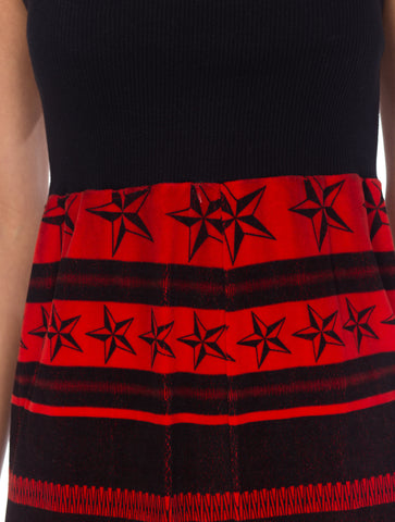 1990S Body Map Red Cotton Stretch Velvet Hand Screen Printed Punk Club Kid Skirt