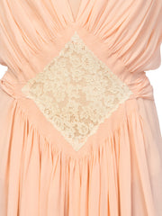 Couture Sheer Silk Chiffon 1930s Negligee With Lace