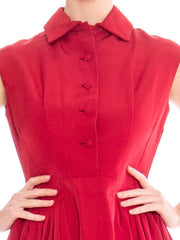 1950s Sleeveless Fit and Flare Shirt Dress