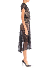 1930's small black lace and chiffon silk dress