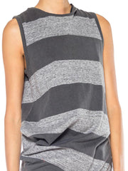 Issey Miyake Asymmetrical Striped Jersey Top