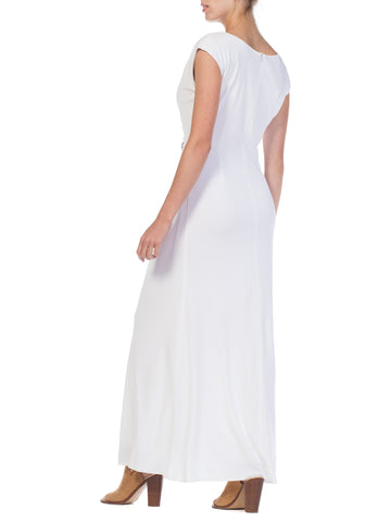 1970S White Polyester Jersey Draped Grecian Goddess Gown