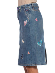 Tom Ford Gucci Style Butterfly Embroidered Jean Skirt