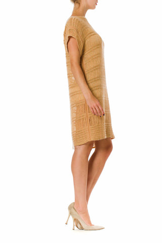 2000S Missoni Camel & Gold Wool Blend Knit Tunic Dress With Lurex
