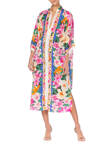 1980S Floral Multicolored Satin Silk Zipper Front Kaftan