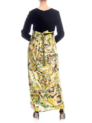 1960s Velvet and Floral Print Lame Empire Waist Maxi Dress