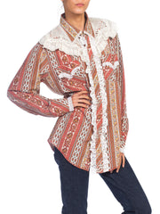 1970s Western Cowgirl Shirt With Vintage Lace Trim