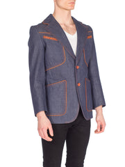 Men's Denim Blazer With Brown Piping