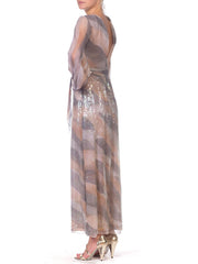1970s Sheer Sequin Chiffon Gown with Pockets