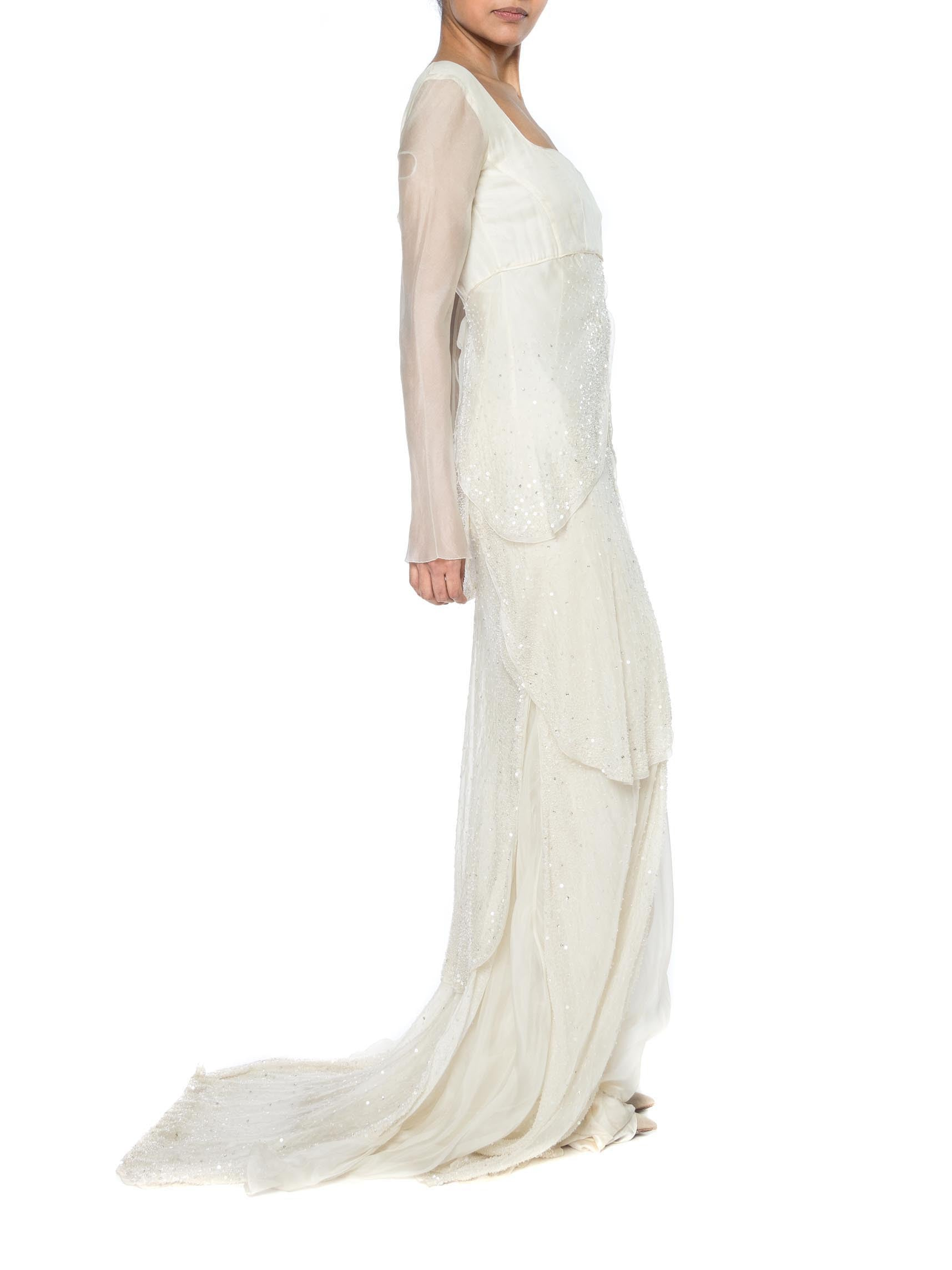1990S Alberta Ferretti Cream Bias Cut Silk Charmeuse & Organza Medieval Inspired Bridal Trained Gown Covered In Beads Crystals