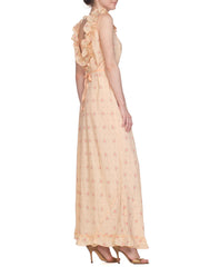 1940s Silk Bias Peach Floral Print Negligee with Low Back and Ruffle straps