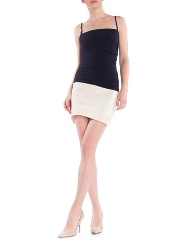 1980S Gianfranco Ferre Ruched Black And White Minimal Dress