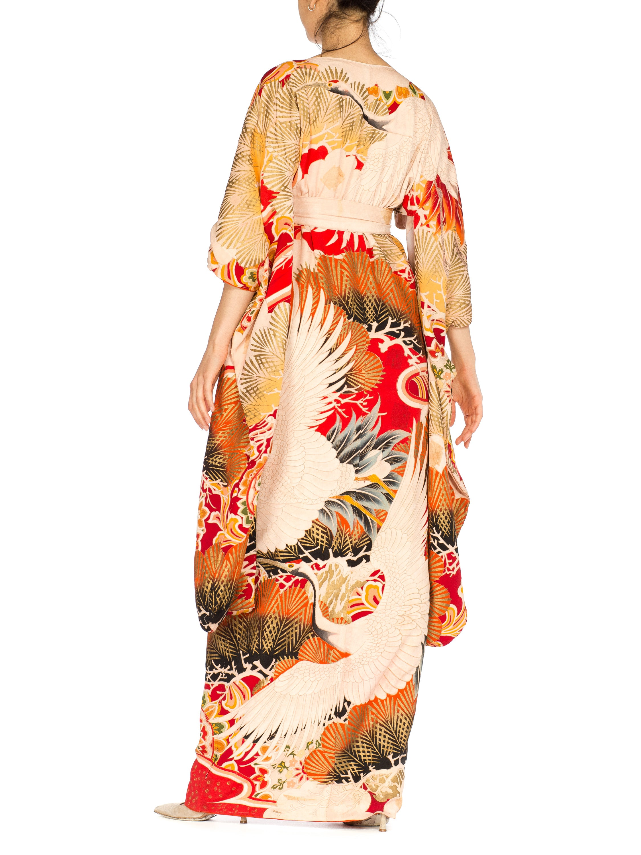 MORPHEW COLLECTION Hand Painted Silk Wrap Dress Made From An Antique 1920S Japanese Kimono