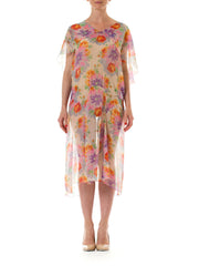 1930s Sheer Floral Printed Light Chiffon Dress