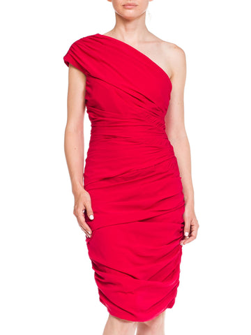 Badgley Mischka Draped 80s Style Dress