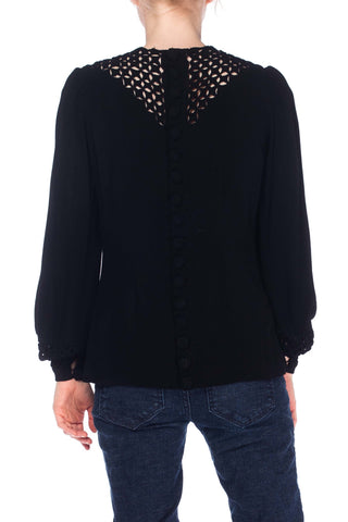 1930S SCHIAPARELLI Style Black Silk Blend Crepe Blouse With Unique Puffy Cut-Out Work