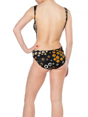 "1960s ""Grey Gardens"" Black and Brown Floral Swimsuit"