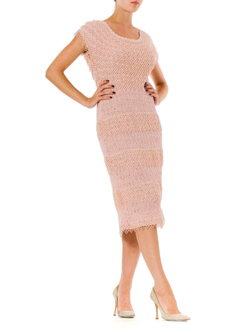1950S Baby Pink Cotton Blend Knit Wiggle Dress With Scalloped Lace & Crystals