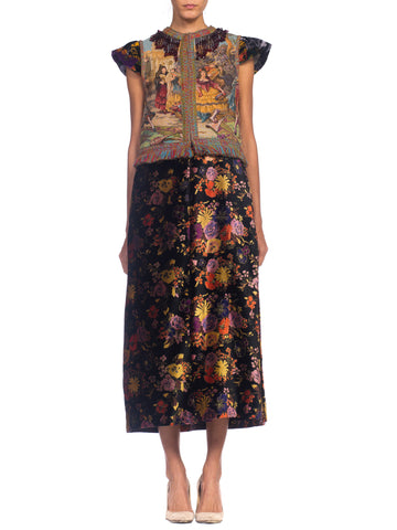 MORPHEW COLLECTION Rayon & Cotton Velvet  Duster Vest With Spanish Scenic Tapestry Beaded Fringe