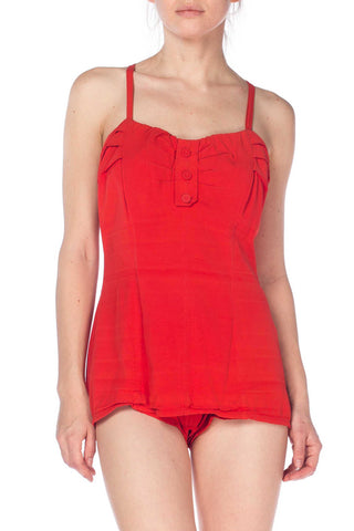 1940s Red Bathing Suit