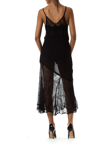 1930s Bias Cut Sheer Black Sleeveless Gown with Asymmetrical Lace Hemline