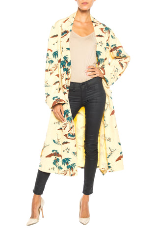 Conversational Tropical Print Robe