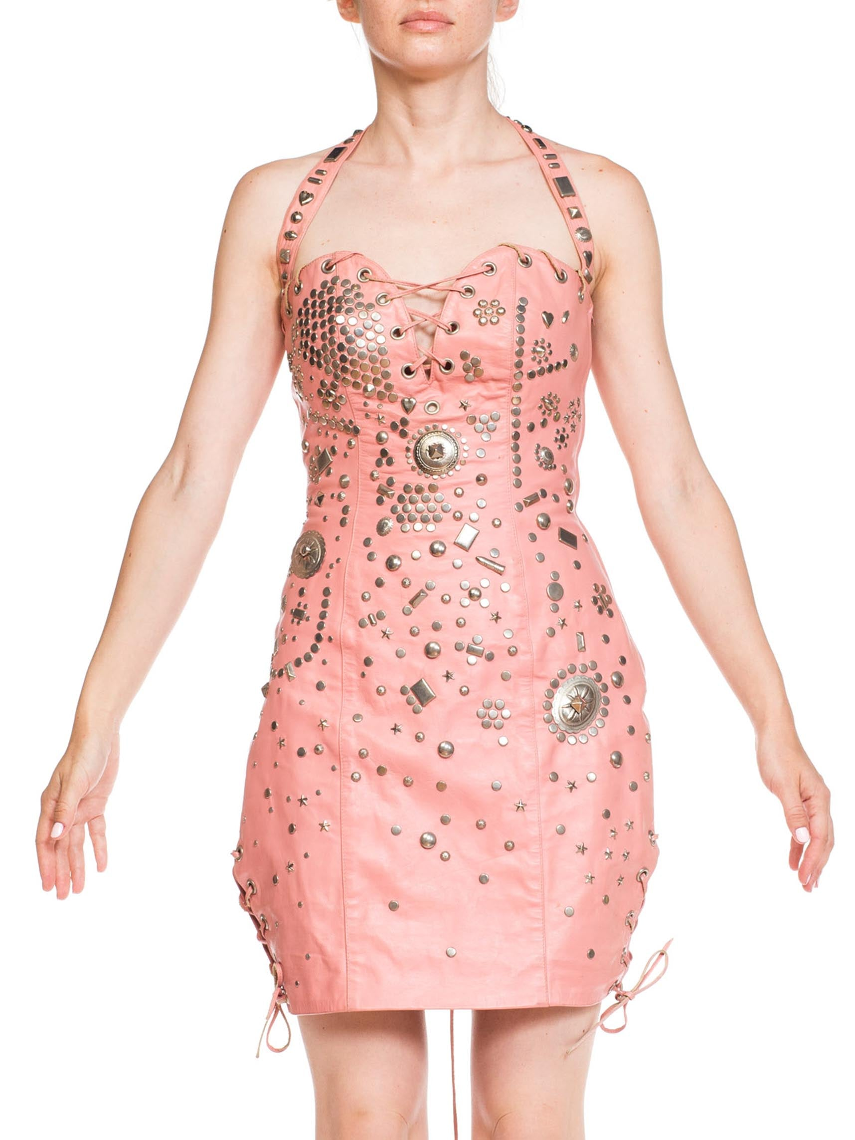 Studded Pink Leather Rocker Chick Dress