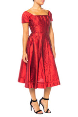 1950s Mr. Sidney Red Short Sleeve Silk Dress With Circle Skirt
