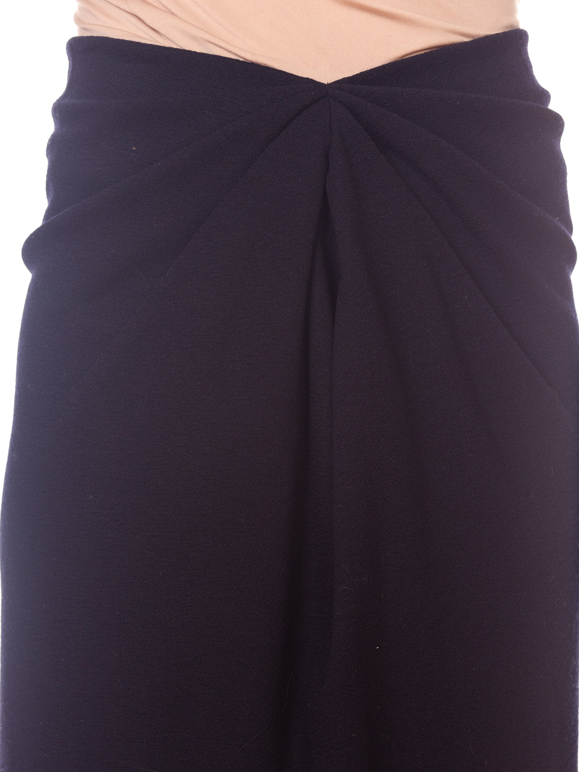 1980S DONNA KARAN Black Wool Jersey 40S Film Noir Style Skirt With Elastic Waist