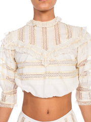 1900-1910 Victorian Edwardian Lace Blouse + Skirt With Silk Ribbon