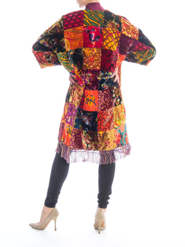 1970S Morphew Collection Velvet/Silk Velvet Patchwork  Duster