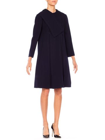 1960s Navy Blue MOD Geoffrey Beene Long Sleeved Navy Coat Dress with Large Box Pleat Skirt