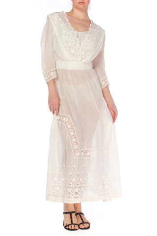 1900S White Cotton Lawn & Edwardian Eyelet Lace Dress With Pintucked Sleeves