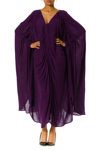 Purple Rayon Blend Caftan Dress with Ruching