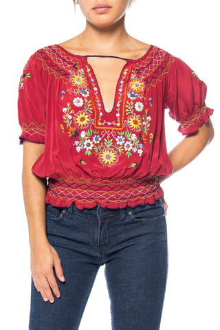 Beautiful Vintage Hand Embroidered Silk Bohemian Blouse