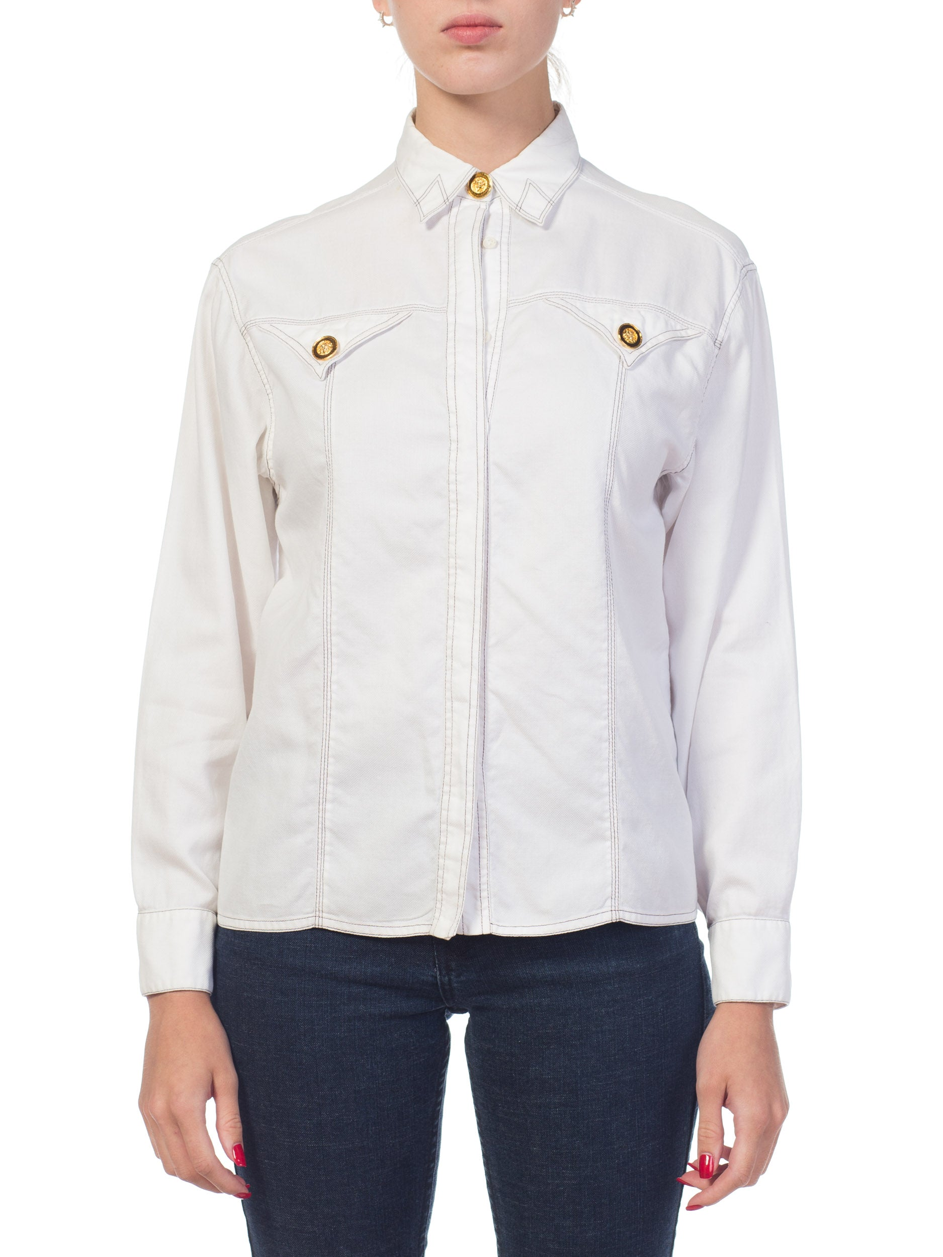 1990S GIANNI VERSACE White Cotton Piqué Contrast Stitch Shirt With Gold Medusa Buttons, Sz 42