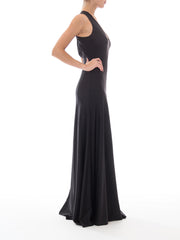 1970s Black Spandex V-Neck Gown