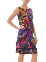 1960s Colorful Psychedelic Paisley Print Shift Dress