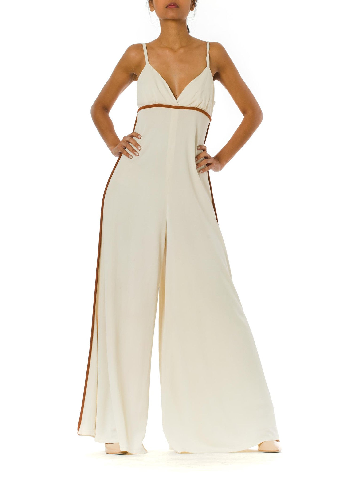 1970s Palazzo Pants Halter Top White Jumpsuit