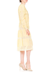 1970s Victorian style linen dress with handmade and machin lace detail