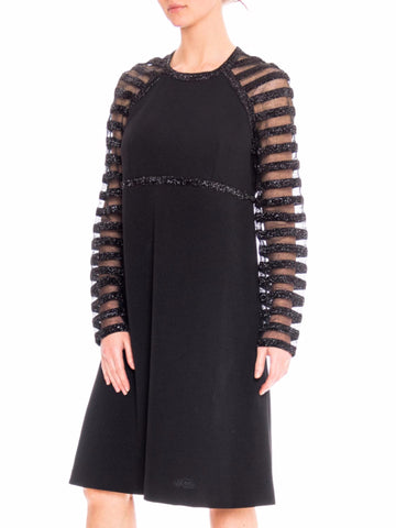 1960S JACQUELINE VANOYE Black Polyester Knit MOD Cocktail Dress With Mesh Lurex Stripe Sleeves