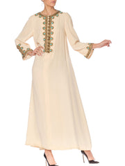 1960s Martha Gold Embroidered Velvet Kaftan