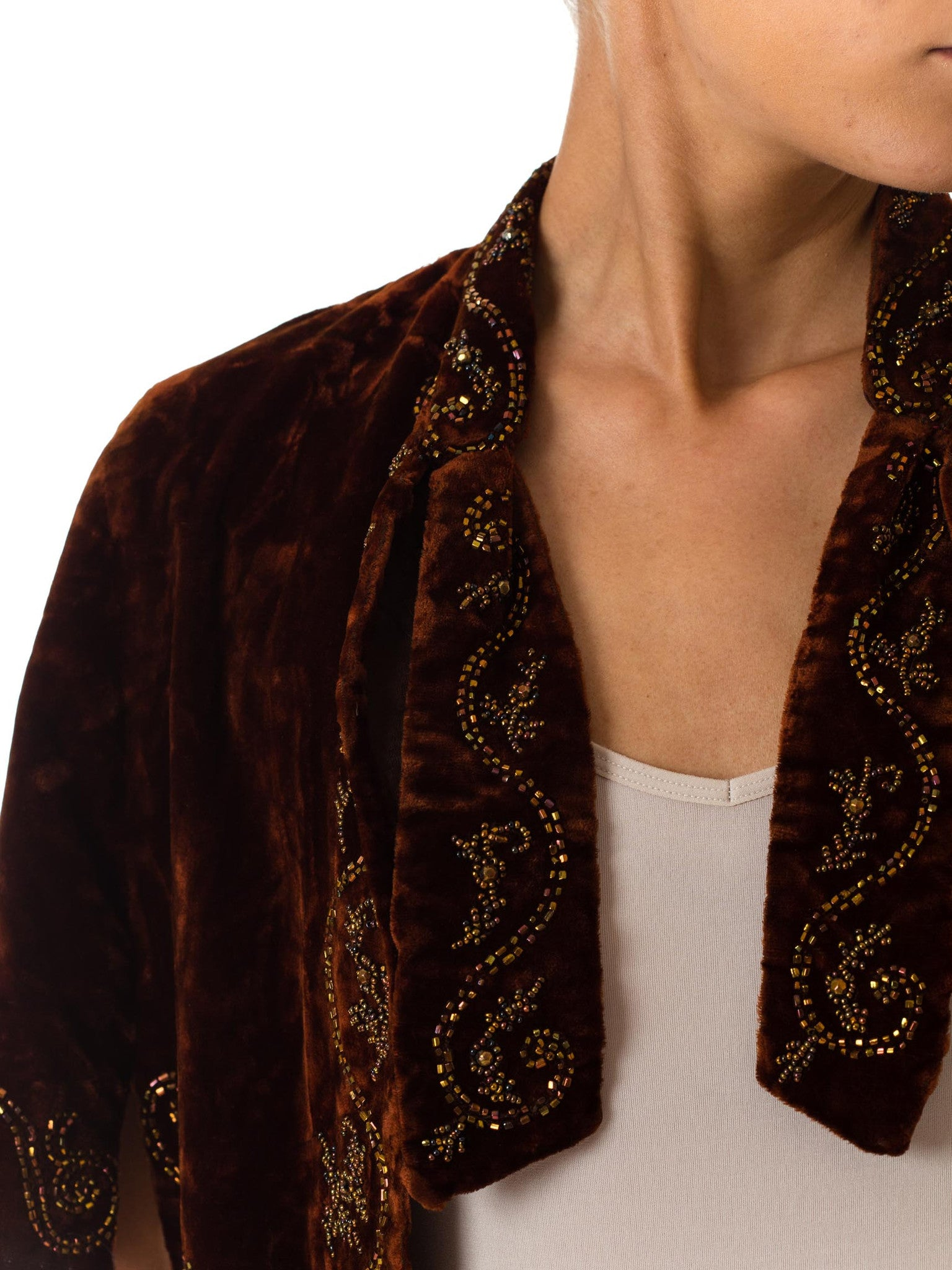 Victorian Cigar Brown Silk Velvet Hand Beaded 1880S Short Cape