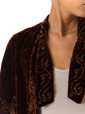 1890S Velvet Victorian Hand Beaded Short Cape