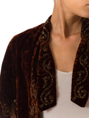 Victorian Hand Beaded Velvet Short Cape