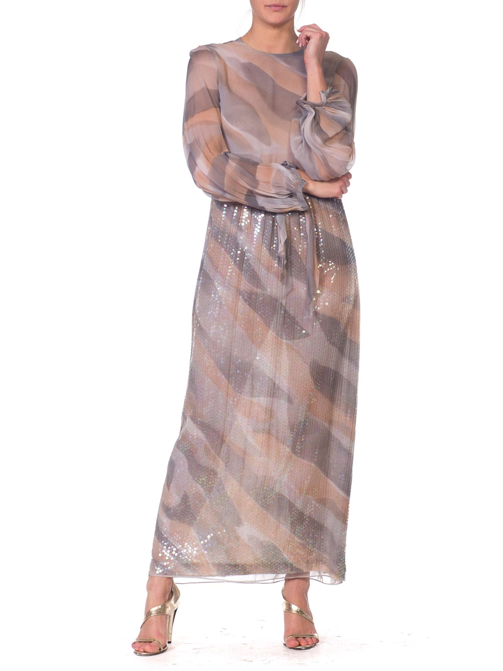 1970S HALSTON Style Oyster Grey Poly/Rayon Chiffon Sheer Sequin Cloud Print Gown With Bias Sleeves & Pockets