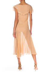 1920s Chiffon Dress With Bias Skirt