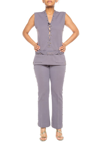 1970S Polyester Silver Studded Lace Up Tunic And Pants In Gray Ensemble